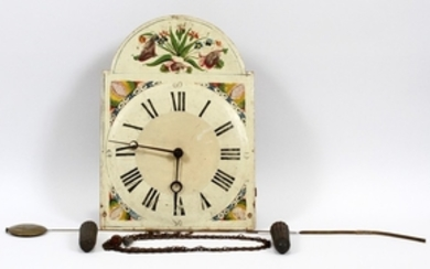 WAG ON THE WALL PAINTED WOOD AND BRASS WALL CLOCK C19TH C 40 12