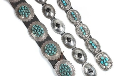 Three Southwestern Silver Concho Belts
