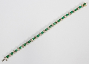 7.20CT EMERALD 2.30CT DIAMOND H VS 14KT GOLD TENNIS BRACELET T.W. 19.2 GR