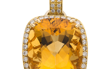 Diamond, Citrine, Gold Pendant-Enhancer The pendant features a cushion-shaped...