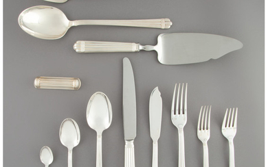 A One Hundred and Twelve-Piece Christofle Aria Pattern Silver-Plated Flatware Service (designed 1984)