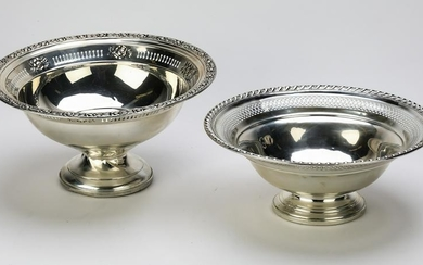 "(2) Sterling silver weighted compotes, 9""dia."