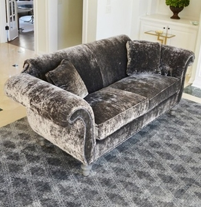 Charcoal Crushed Velvet Sofa