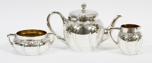 BERNHARD FRIEDLANDER DUSSELDORF GERMANY 800 SILVER TEAPOT SUGAR BOWL AND CREAMER