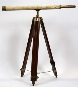 BONE AND BRASS TELESCOPE STAND