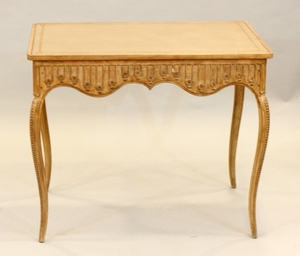 CARVED PICKLED WOOD CARD TABLE 25 31 22
