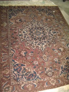 Lot Art Caucasian Wool Carpet With Geometric Flora And Fauna Designs In Brown Mauve And Blue Wools 88 X 125 Ins