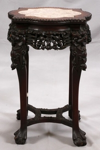 CHINESE CARVED TEAKWOOD MARBLE TOP PEDESTAL TABLE CIRCA 1900 24 15