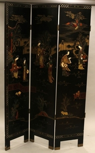 CHINESE THREE SCREEN WITH INLAY BLACK LACQUER 72 16 EACH PANEL