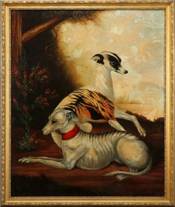 ENGLISH OIL ON CANVAS 1951 66 54 WHIPPETS
