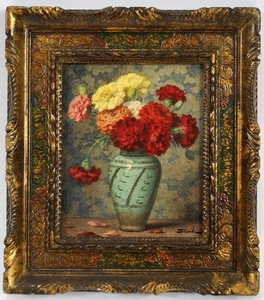 ERNEST FILLIARD FRENCH 1868 33 WATERCOLOR ON PAPER 4 CARNATIONS