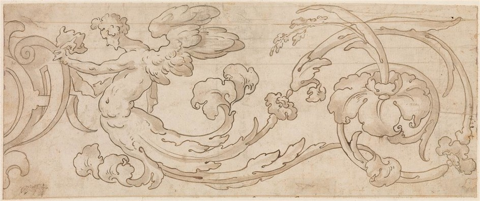 FLORENTINE SCHOOL, 17TH CENTURY Design for a Floral Ornament with a Winged Figure.