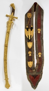 FRENCH 1ST MODEL 1822 DRUM MAJORS SABRE SCABBARD AND SASH LOUIS PHILIPPE PERIOD 37