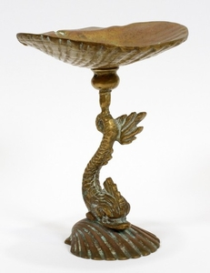 FRENCH BRONZE DOLPHIN SHELL FORM COMPOTE
