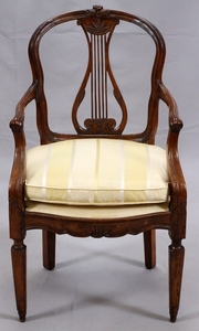 FRENCH CARVED WOOD OPEN ARM CHAIR 36 21 23