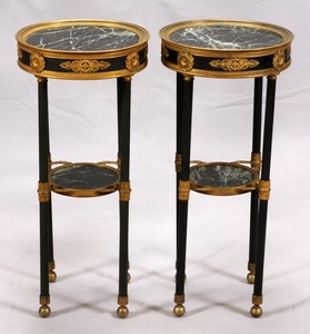 FRENCH EMPIRE STYLE MARBLE TOP TABLES PAIR 27 DIA 12