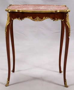 FRENCH LOUIS XV STYLE MAHOGANY MARBLE TOP TABLE 28 22 15