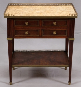 FRENCH WALNUT MARBLE TOP TABLE 28 26 18