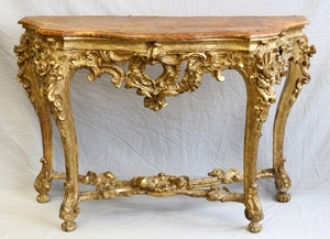 ITALIAN ROCOCO GILT WOOD AND GESSO CONSOLE TABLE 34 49 19