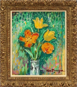 KEES VAN DONGEN DUTCH FRENCH 1877 1968 OIL ON PLYWOOD PANEL TULIPS 18 21