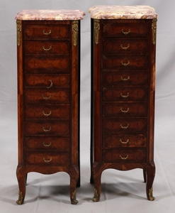 LOUIS XV STYLE MARBLE TOP CHESTS PAIR 37 13 11