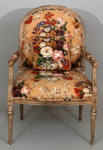 LOUIS XVI STYLE UPHOLSTERED CARVED CHAIR 41 27 30