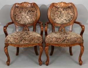 PAIR SHIELD BACK CARVED WALNUT AND UPHOLSTERED OPEN ARM CHAIRS 36 23 23