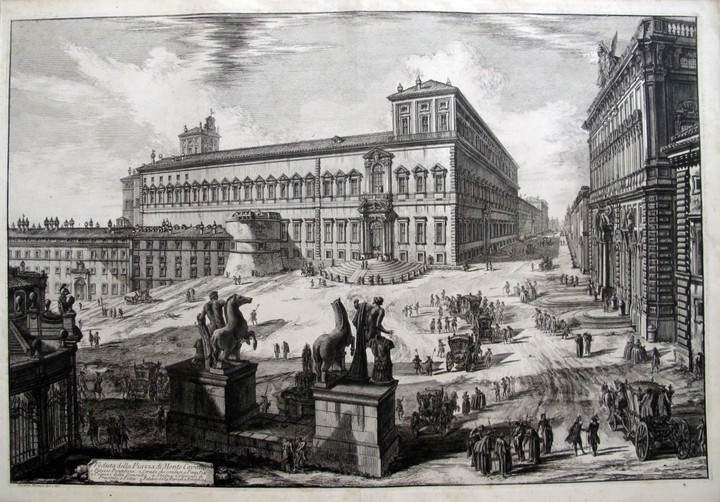 Piranesi, Giovanni: THE PIAZZA DEL QUIRINALE WITH THE STATUES OF THE HORSE-TAMERS SEEN FROM THE BACK, Year 1773