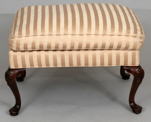 QUEEN ANNE STYLE SILK UPHOLSTERED WOOD STOOL 20 28 21