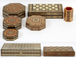 SADEF WOOD AND MOTHER OF PEARL BACKGAMMON BOARDS AND ACCESSORIES 8