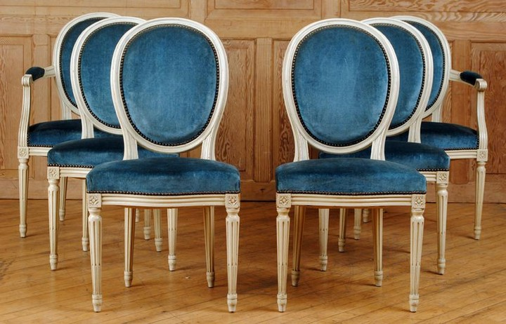 SET 6 FRENCH PAINTED DINING CHAIRS C.1940