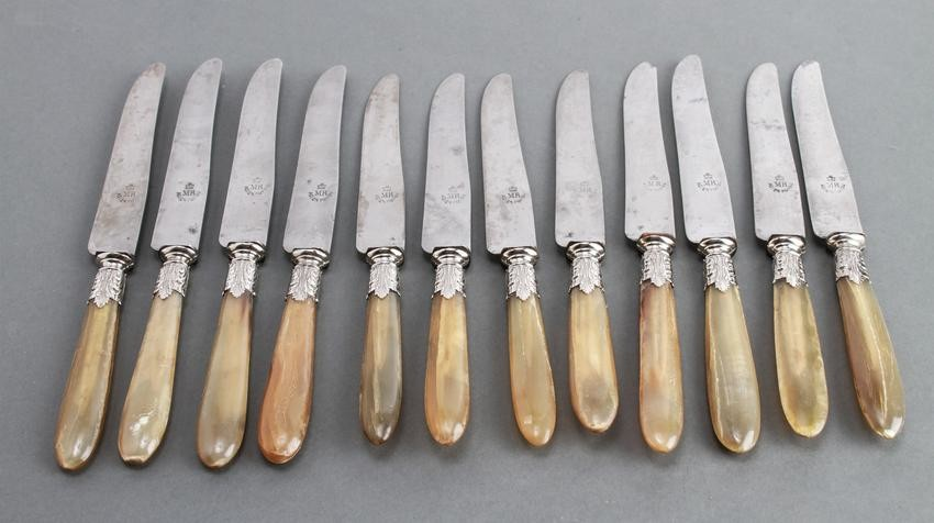 Set of Twelve French Knives with Horn Handles