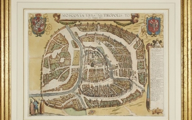 G. Braun & F. Hogenberg: MAP OF MOSCOW - Moscovia Urbs Metropolis Totius Russiae Albae, Year 1617
