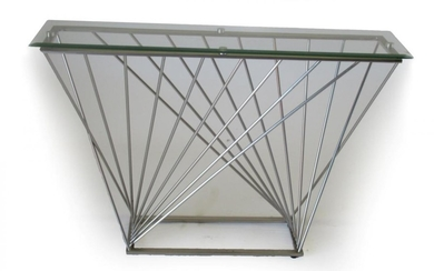 A Late 20th Century Chromed Metal and Tubular Side Table,...
