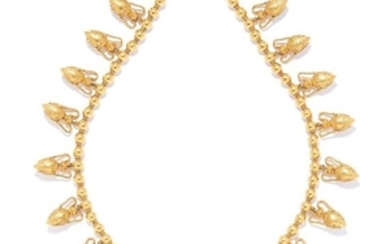 ANTIQUE ETRUSCAN REVIVAL BEAD NECKLACE in high carat