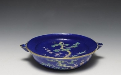 Blue Ground Famille Rose Food Warmer, 19th Century