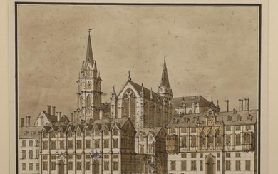 City view with gothic cathedral. C. 1750-1800 Drawing, pen in black ink wit