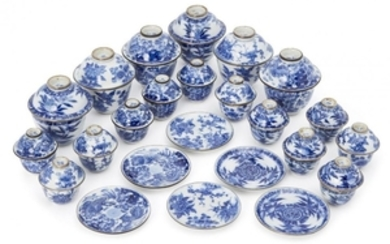 A collection of Chinese miniature tea bowls,...