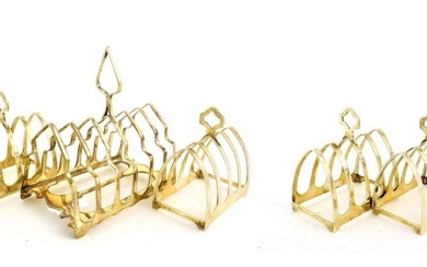 A Pair of George V Silver Toast-Racks and a Pair...