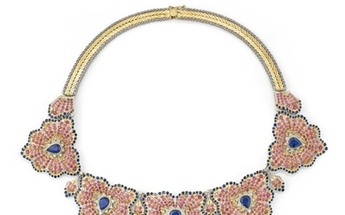 Sapphire, ruby and diamond necklace, 'Anthurium', Gianmaria Buccellati, 1993