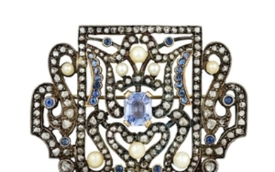 Antique - Antique Silver Cultured Pearl Sapphire and Diamond Brooch