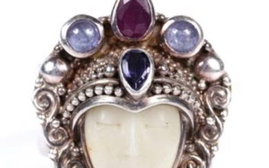 Lot Art Sajen Sterling Silver Carved Cow Bone Ruby Tanzanite And Blue Topaz Ring