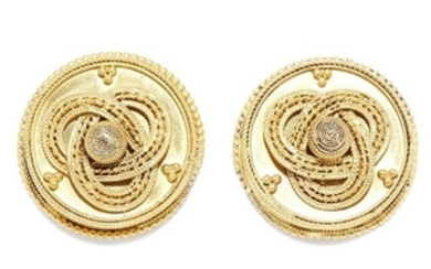 ANTIQUE ETRUSCAN REVIVAL EARRINGS, 19TH CENTURY in high