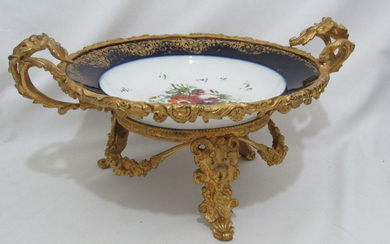 Antique French Porcelain & Bronze Gilden Hand Painted 25...