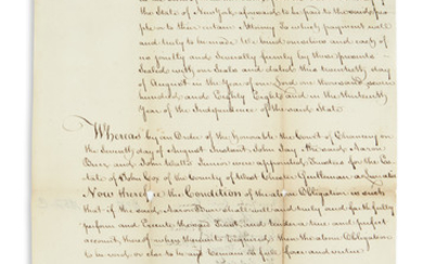 BURR AND SIGNER BURR, AARON. Document Signed,...