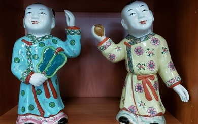 Pair of Circa 1890 Chinese Famille Rose Porcelain Ho Ho