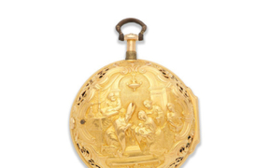 H. Fish, London. An 18K gold key wind pair case repousse pocket watch signed by H Manly