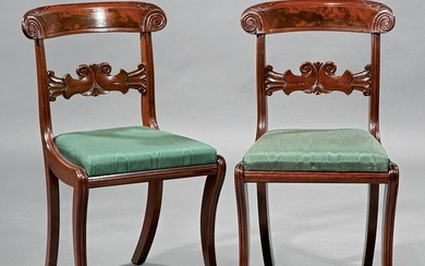 Late Classical Carved Mahogany Side Chairs