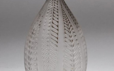 R. Lalique France Frosted Art Glass Vase w Leaves