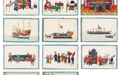 A rare Qing Dynasty album with 48 daily scenes on …